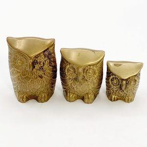 Owls Vintage Leonard Silver Mfg Co Solid Brass Set